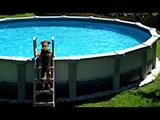 Un chien qui plonge dans une piscine